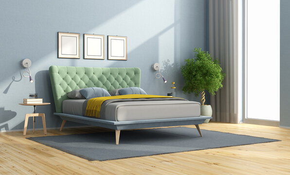 Colorful double bed in a minimalist bedroom