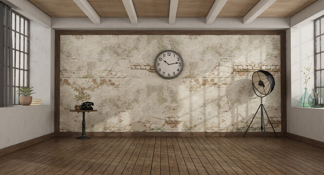 Vintage style empty room with old wall on background