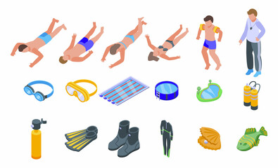 Obraz Diving school icons set isometric vector. Active beach. Boy child - fototapety do salonu