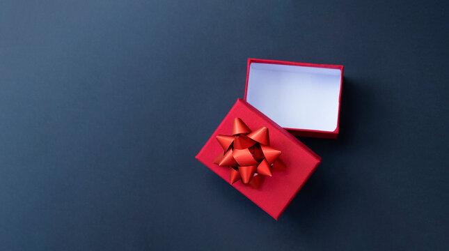 Top view of open empty present box