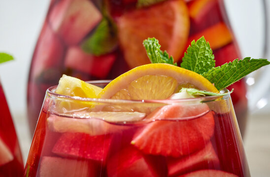 close up of red sangria