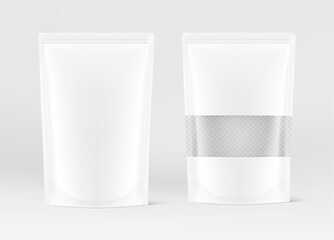 Obraz Pouch bag with transparent window mockups on white background. Vector illustration. Front view. Can be use for template your design, presentation, promo, ad. EPS10. - fototapety do salonu