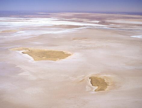 Aerial view of Lake Eyre the huge  salt lake in South Australia.