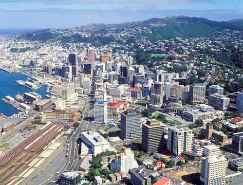 Aerial view of Wellington the capital city of New Zealand on the southern most part of the north Island.