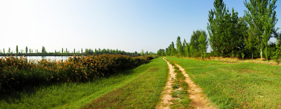 Italy, Emilia Romagna, Ferrara, Footpath in rural landscape