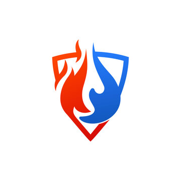 Illustration vector graphic of water fire and shield.