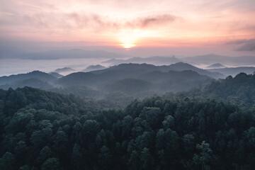 Fototapeta mountains and sunrise in the morning obraz