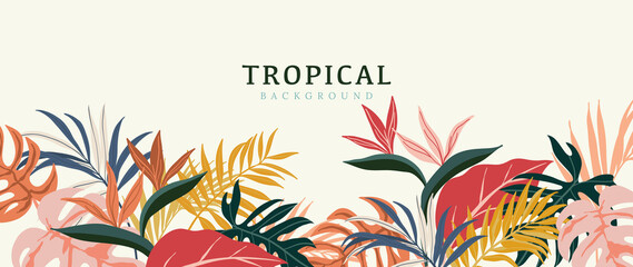 Tropical leaves background vector. Summer Sale banner design with flower and leaf. Hand drawn colorful palm leaf, monstera leaves, floral line art design for wallpaper, cover, cards and packaging.