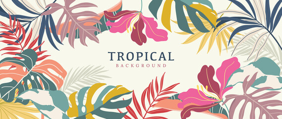 Obraz Tropical leaves background vector. Summer Sale banner design with flower and leaf. Hand drawn colorful palm leaf, monstera leaves, floral line art design for wallpaper, cover, cards and packaging. - fototapety do salonu