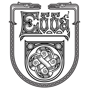 Ancient decorative dragon in the Celtic style. The Edda Inscription is a literary work of Norse mythology, painted in the Celtic Scandinavian style