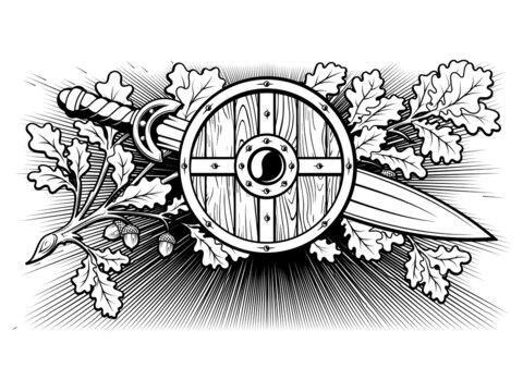 Viking, Scandinavian design. Viking shield, warrior sword and oak branch with leaves and acorns - a symbol of courage