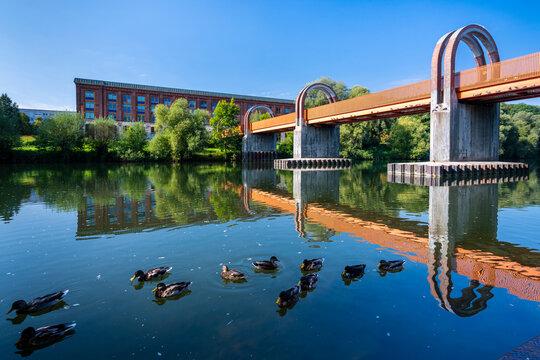Germany, Baden-Wurttemberg, Plochingen, Ducks swimming in Neckar river with Neckarbrucke bridge in background