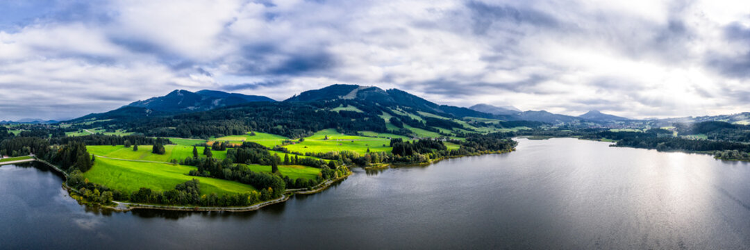 Germany, Bavaria, Aerial panorama of Gruntensee lake