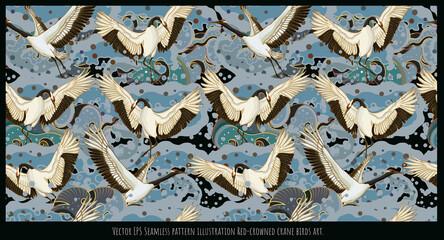 Fototapeta premium Seamless pattern Japanese Red-crowned crane birds art.