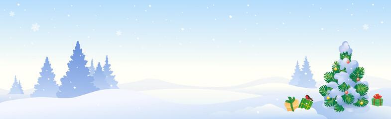 Obraz Vector cartoon illustration of Christmas tree, winter panoramic landscape - fototapety do salonu