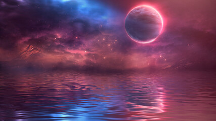 Futuristic fantasy landscape, sci-fi landscape with planet, neon light, cold planet. Galaxy, unknown planet. Dark natural scene with light reflection in water. Neon space galaxy portal. 3d