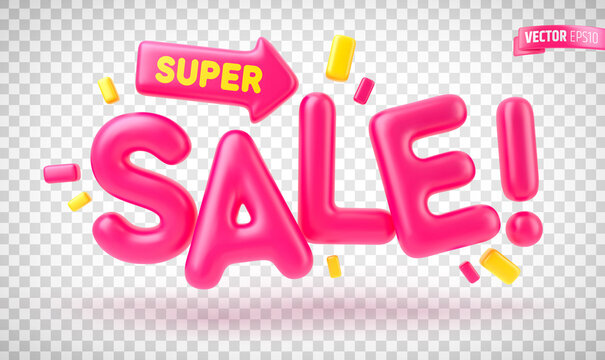 """Vector realistic text """"Super Sale"""" on a transparent background."""