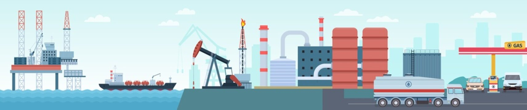Oil petroleum industry extraction, production and transportation infographic. Sea rig, tanker, refinery plant and gas station vector concept