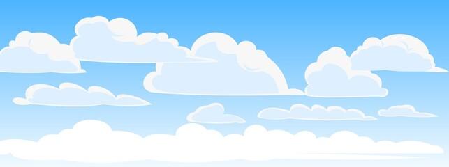 Fototapeta Sky clouds vector. Illustration in cartoon style flat design. Heavenly atmosphere. Vector obraz