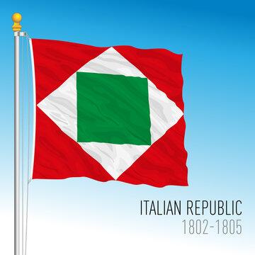 Italian Republic historical flag, 1802 - 1805, Italy, vector illustration