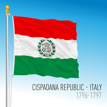 Cispadana Republic historical flag, Italy, 1796-1797, vector illustration