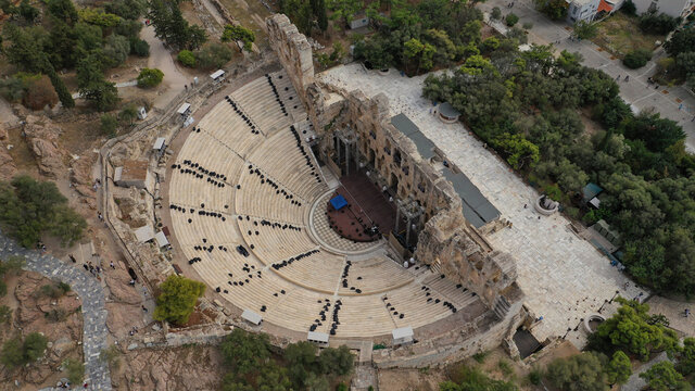 Aerial drone photo from iconic ancient theatre of Herodes Atticus near Acropolis hill, Athens historic centre, Attica, Greece