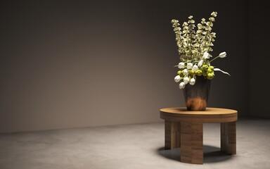 Fototapeta Still life lilac flowers in a vase on the table. 3D illustration, cg render obraz