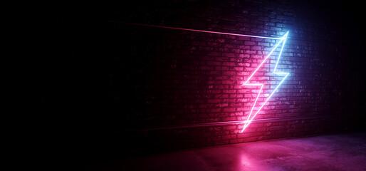 Grunge Neon Retro Glowing Purple Blue Sign Club Showroom Brick Rough Cement Concrete Floor Dark Basement Fashion Empty Stage Podium Background 3D Rendering