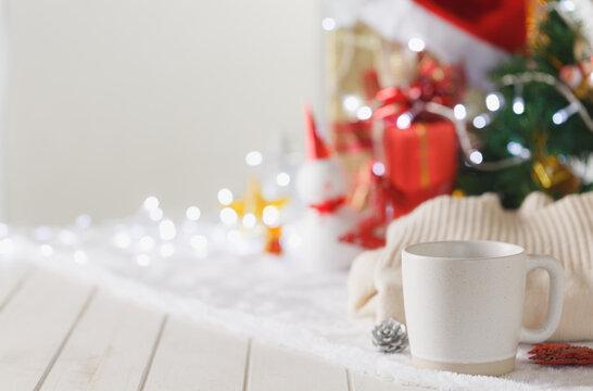 Mug with blurred Christmas festival