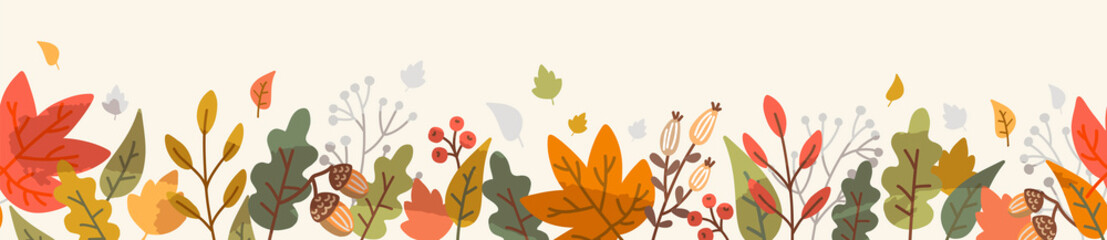 Obraz Autumn leaf fall horizontal banner. Seamless border with hand drawn cute colorful leaves. Vector illustration  - fototapety do salonu