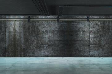Estructura y cimientos de cemento. Construcción y la arquitectura de hormigón. Columnas y pared de cemento y la construcción de un aparcamiento.