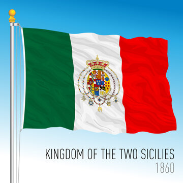 Kingdom of Two Sicilies historical flag, Italy, 1860, vector illustration