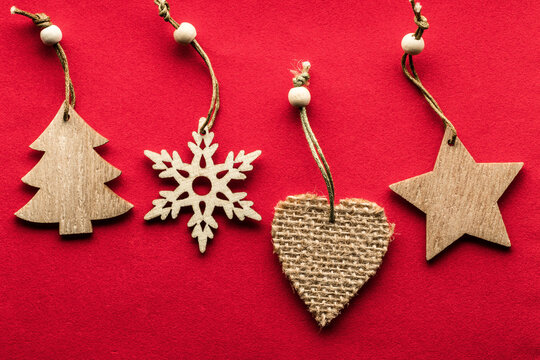 Eco friendly Christmas tree decorations on a red background