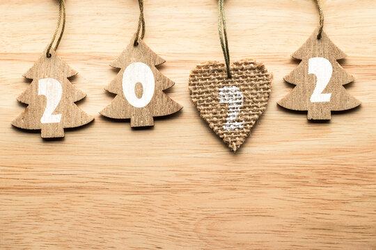 Handmade craft wooden Christmas tree toys.. New year 2022.