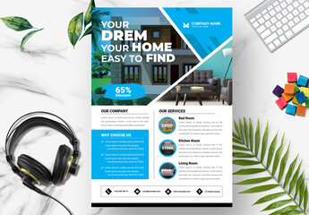 Obraz Real Estate Flyer Layout Home and Furniture Layout - fototapety do salonu
