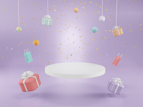 Podium with Gifts boxes. Merry christmas and Happy New Year background, 3d Illustration.