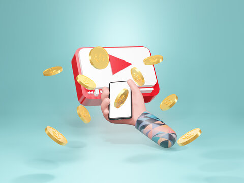 Make Money With Social Media. Create Content, Social Media Platforms, 3d illustration