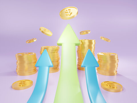 Business arrow direction to success.Chart increase profit. Financial success and growth concept. 3d illustration.