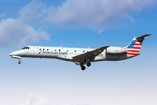 American Eagle Envoy Air Embraer 140 airplane New York JFK airport in the United States