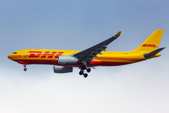 DHL European Air Transport Airbus A330-200F airplane New York JFK airport in the United States
