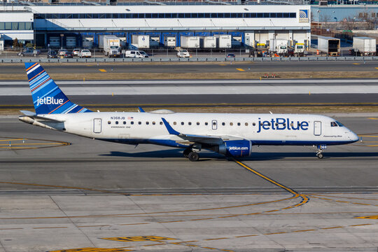 JetBlue Embraer 190 airplane New York JFK airport in the United States