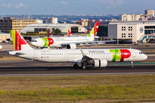 TAP Air Portugal Airbus A321neo airplane Lisbon airport in Portugal