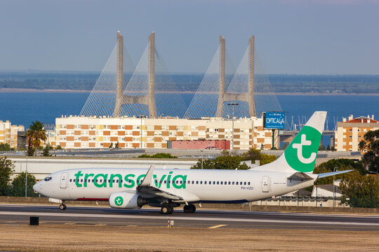 Transavia Boeing 737-800 airplane Lisbon airport in Portugal