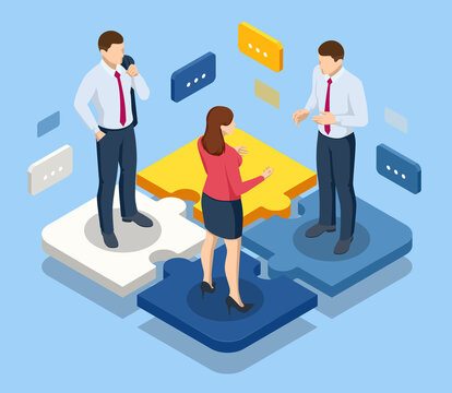 Isometric people connecting puzzle elements. Business teamwork, cooperation, partnership. Team work, team building, corporate organization. Puzzle teamwork.