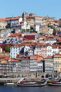 Porto Portugal old town buildings World Heritage with Douro river travel portrait format