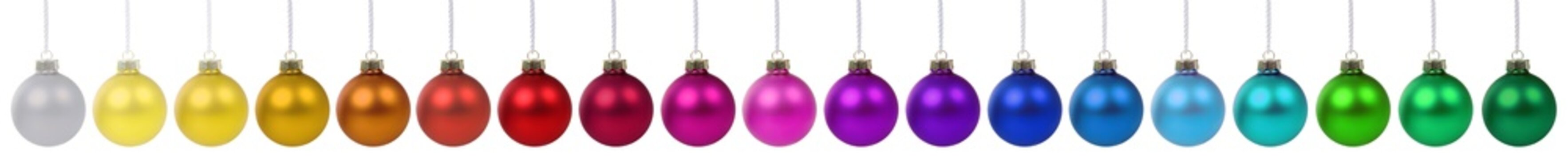 Christmas balls decoration banner colorful in a row isolated on white