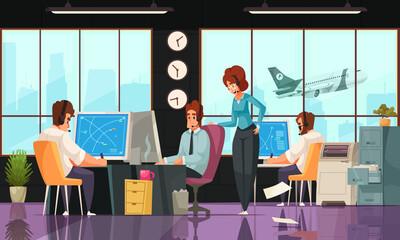 Obraz Airport Interior Cartoon Composition - fototapety do salonu