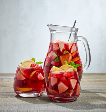 jug and glasses of sangria