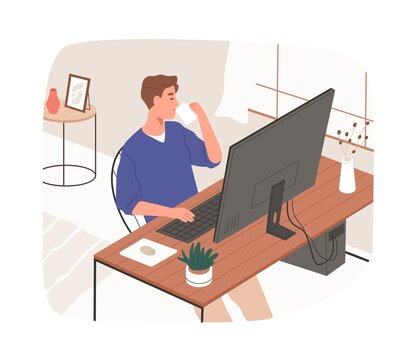 Online work from home office. Man working at desk with desktop computer. Remote employee with coffee cup at comfortable workplace. Flat vector illustration of freelancer isolated on white background