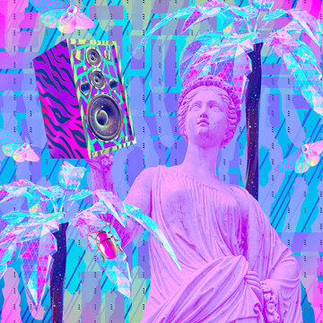 Contemporary minimal fashion concept collage. Antique statue Lady and Dj Disco stuff. Back in 90s party style. Zine and vapor wave cuture